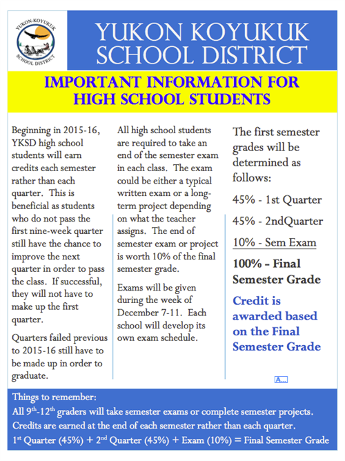 Important changes for high school exams, semester grades and earning high school credit