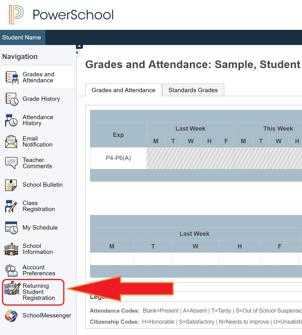 PowerSchool Re-Enrollment Button